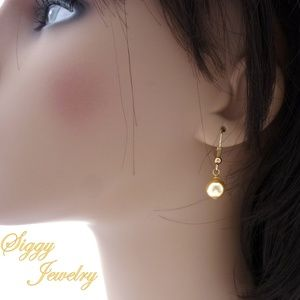 Swarovski® Crystal Gold Pearl Drop Earrings